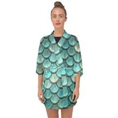 Aqua Mermaid Scale Half Sleeve Chiffon Kimono by snowwhitegirl