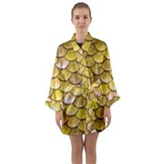 Yellow  Mermaid Scale Long Sleeve Kimono Robe by snowwhitegirl