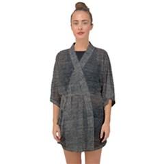 Black Denim Half Sleeve Chiffon Kimono by snowwhitegirl