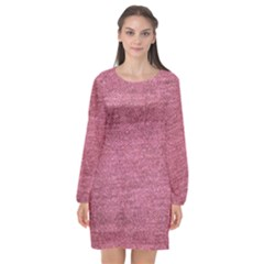 Pink  Denim Long Sleeve Chiffon Shift Dress