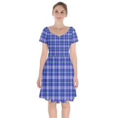 Blue Teal Plaid Short Sleeve Bardot Dress by snowwhitegirl