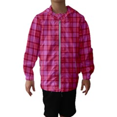 Valentine Pink Red Plaid Hooded Windbreaker (kids) by snowwhitegirl