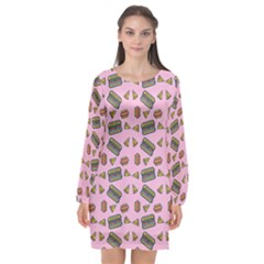 Fast Food Pink Long Sleeve Chiffon Shift Dress  by snowwhitegirl