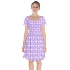 Hearts Dots Purple Short Sleeve Bardot Dress by snowwhitegirl