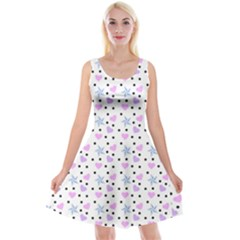 Hearts And Star Dot White Reversible Velvet Sleeveless Dress by snowwhitegirl