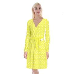 Hearts And Star Dot Yellow Long Sleeve Velvet Front Wrap Dress by snowwhitegirl
