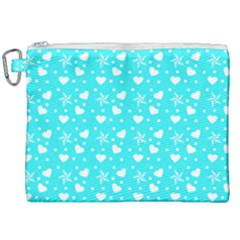 Hearts And Star Dot Blue Canvas Cosmetic Bag (xxl) by snowwhitegirl