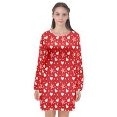 Hearts And Star Dot Red Long Sleeve Chiffon Shift Dress  by snowwhitegirl