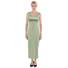 Hearts And Star Dot Green Fitted Maxi Dress