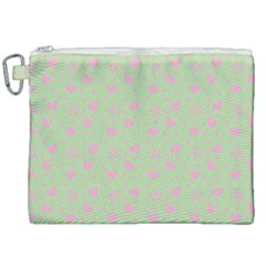 Hearts And Star Dot Green Canvas Cosmetic Bag (xxl) by snowwhitegirl