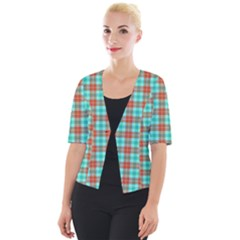 Aqua Orange Plaid Cropped Button Cardigan by snowwhitegirl