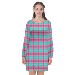 Blue Pink Plaid Long Sleeve Chiffon Shift Dress  by snowwhitegirl