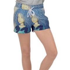 Blue Hair Boy Women s Velour Lounge Shorts by snowwhitegirl