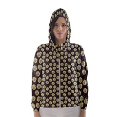 Antique Flowers Brown Hooded Windbreaker (women) by snowwhitegirl