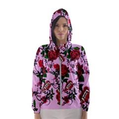 Pink Rose Vampire Hooded Windbreaker (women) by snowwhitegirl