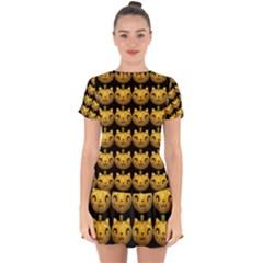 Cat Pumpkin Drop Hem Mini Chiffon Dress by snowwhitegirl