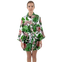 Flamingo Floral White Long Sleeve Kimono Robe by snowwhitegirl