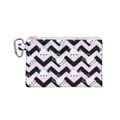 Pink Teapot Chevron Canvas Cosmetic Bag (small)