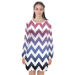 Pink Blue Black Ombre Chevron Long Sleeve Chiffon Shift Dress  by snowwhitegirl