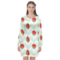 Watermelon Chevron Green Long Sleeve Chiffon Shift Dress  by snowwhitegirl