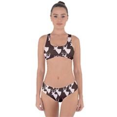 Brown Deer Pattern Criss Cross Bikini Set by snowwhitegirl