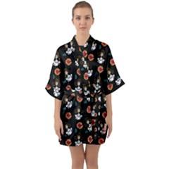 Girl With Dress Black Quarter Sleeve Kimono Robe by snowwhitegirl
