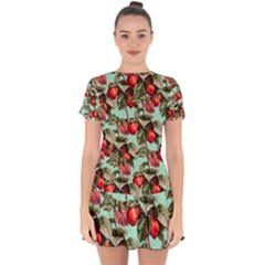 Fruit Branches Green Drop Hem Mini Chiffon Dress by snowwhitegirl
