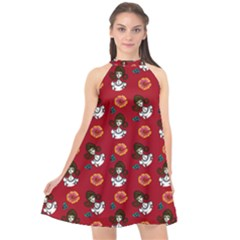 Girl With Dress Red Halter Neckline Chiffon Dress  by snowwhitegirl