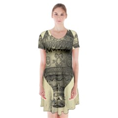 Vintage Air Balloon Short Sleeve V Neck Flare Dress by snowwhitegirl