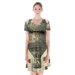 Vintage Air Balloon With Roses Short Sleeve V Neck Flare Dress by snowwhitegirl