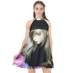 Doll Floral Halter Neckline Chiffon Dress  by snowwhitegirl