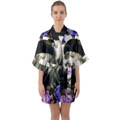 Doll Floral Quarter Sleeve Kimono Robe by snowwhitegirl