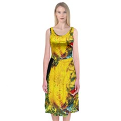 Yellow Chik Midi Sleeveless Dress by bestdesignintheworld