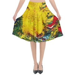 Yellow Chik Flared Midi Skirt by bestdesignintheworld