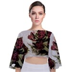 Roses 1802790 960 720 Tie Back Butterfly Sleeve Chiffon Top