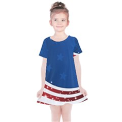 Dark American Flag Kids  Simple Cotton Dress by lwdstudio