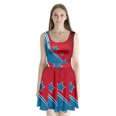 Abstract American Flag Background 23 2147507240 Split Back Mini Dress  by lwdstudio