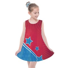 Abstract American Flag Background 23 2147507240 Kids  Summer Dress by lwdstudio