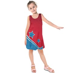 Abstract American Flag Kids  Sleeveless Dress by lwdstudio