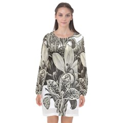 Flowers 1776483 1920 Long Sleeve Chiffon Shift Dress  by vintage2030