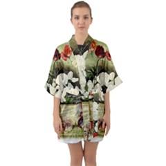 Flowers 1776617 1920 Quarter Sleeve Kimono Robe