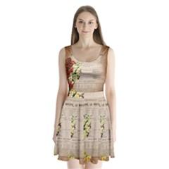 Letter Floral Split Back Mini Dress  by vintage2030