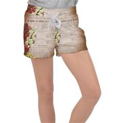 Letter Floral Women s Velour Lounge Shorts by vintage2030