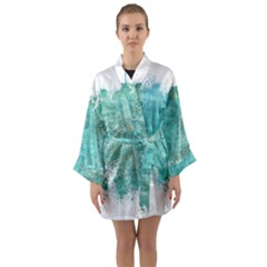 Splash Teal Long Sleeve Kimono Robe by vintage2030
