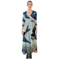 Blue Bird Button Up Boho Maxi Dress by vintage2030