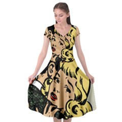 Hugging Retro Couple Cap Sleeve Wrap Front Dress by vintage2030