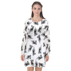 Pointing Finger Pattern Long Sleeve Chiffon Shift Dress  by Valentinaart