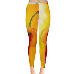 Three Red Chili Peppers Inside Out Leggings by FunnyCow