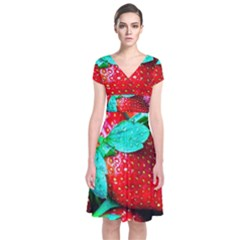 Red Strawberries Short Sleeve Front Wrap Dress by FunnyCow