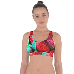 Red Strawberries Cross String Back Sports Bra by FunnyCow
